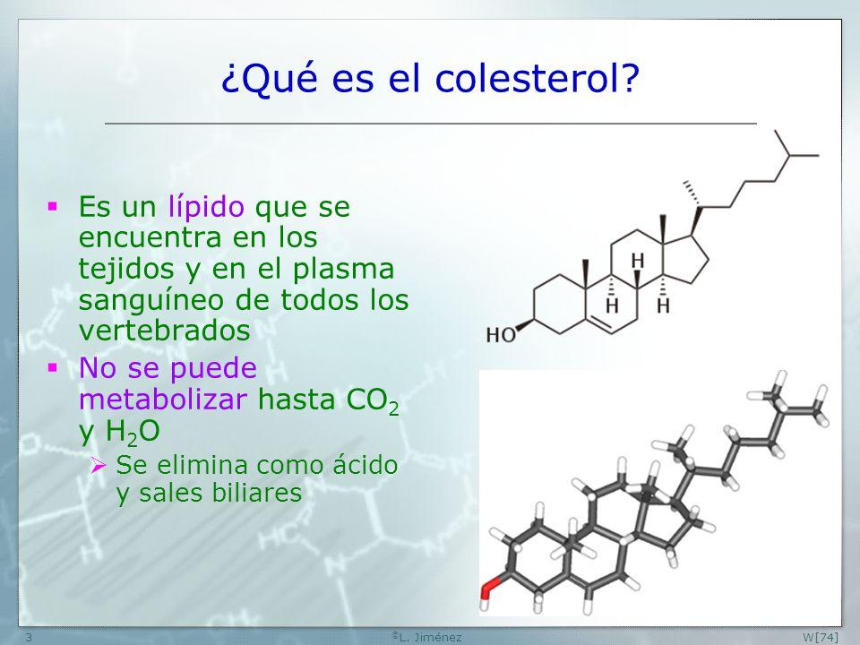 W [74] ©L. Jiménez. ¿Qué es el colesterol Es un lípido que se encuentra en los tejidos y en el plasma sanguíneo de todos los vertebrados.